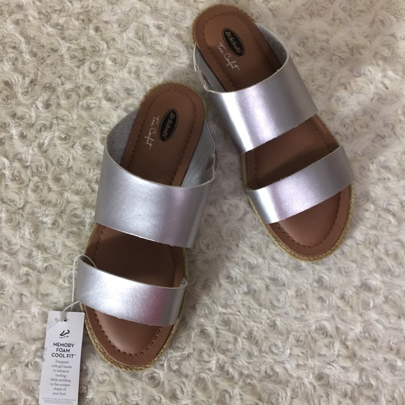 60abc5723693 Dr. Scholl s Shoes - Dr. Scholls May Slides Slipper Sandals Silver